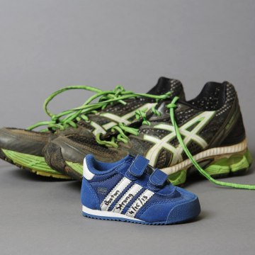 Image: Runner's shoes, artifacts saved from the makeshift Boston Marathon bombing memorial