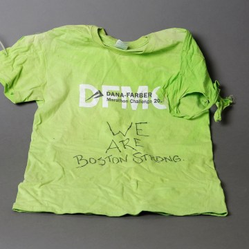 Image: A T-shirt, an artifact saved from the makeshift Boston Marathon bombing memorial