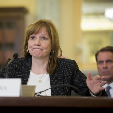General Motors CEO Mary Barra at a Senate subcommittee hearing on Wednesday. She defended GM against charges of a coverup in the recall of 2.6 million cars with a defective ignition switch