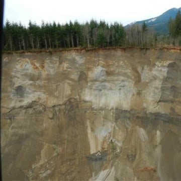 IMAGE: Debris dam blocking the Stillaguamish River after the March 22 mudslide in Washington state.