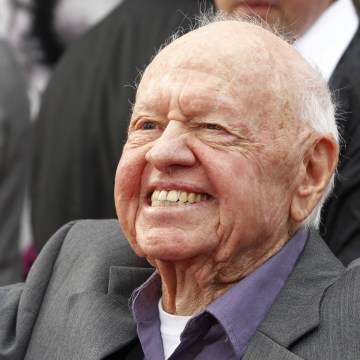 "Image: Mickey Rooney arriving at the world premiere of the 40th anniversary restoration of the film ""Cabaret"" in Hollywood"