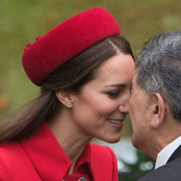 "Image: The Duchess of Cambridge receives a ""hongi,"" a traditional Maori greeting"