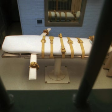 "Image: The ""death bed"" in the execution chamber in Huntsville, Texas"