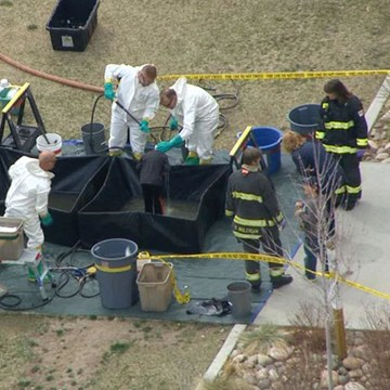 Image: Four students were taken to the hospital and 24 were treated on the scene after they had reactions on the school playground on Monday afternoon at Jefferson County Open School
