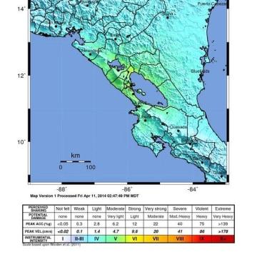 Image: Nicaragua earthquake shake map