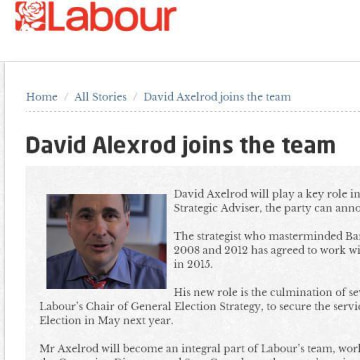 Image: Labour Party statement announcing David Axelrod's appointment