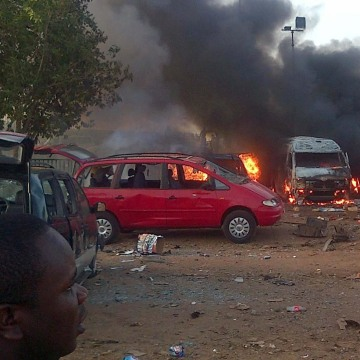 Image: The aftermath of Monday's attack on a bus station in Abuja, Nigeria