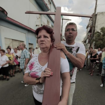 : Cuba's Roman Catholics held a procession in Regla, a small town across the Havana Bay, to mark the end of Holy Week.