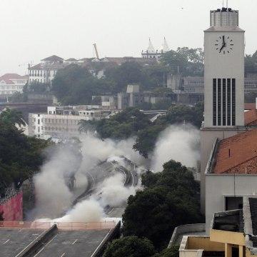 Image: Explosives are detonated to demolish part of the Perimetral overpass, as part of Rio's Porto Maravilha urbanisation project, in Rio de Janeiro