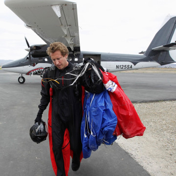 Image: Wingsuit jumper Joby Ogwyn after taking a practice jump near Perris, Calif.