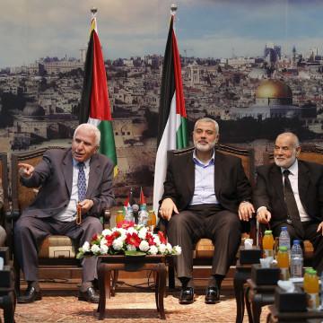 Image: Senior Hamas, Fatah and Palestinian parliamentary figures in Gaza City on Tuesday