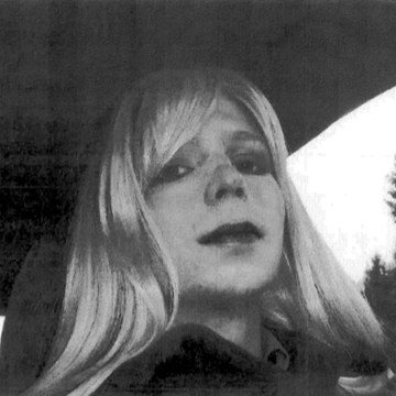 Image: Bradley Manning in wig and make-up.