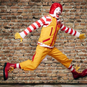 Ronald McDonald's new yellow suit