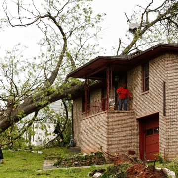 Image: Fallen trees and damaged homes are shown in Bessemer