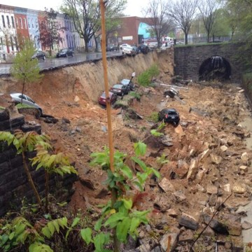 Image: Heavy rains caused a landslide in Baltimore, Md., on Wednesday, April 30, 2014.