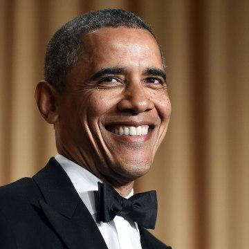 Image: President Barack Obama tells jokes during the White House Correspondents Dinner