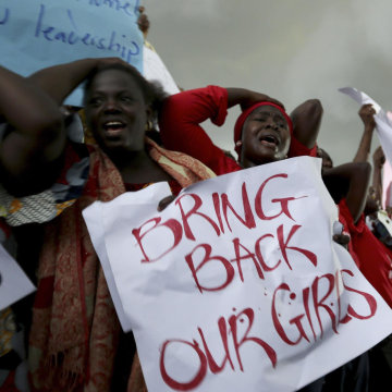 Image: Women at protest in Abuja, Nigeria, on April 30