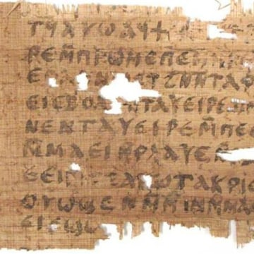 Image: The John papyrus fragment and transcription.
