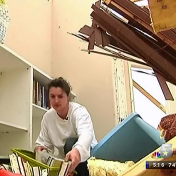 Image: Brooke Barnes survived an April 3, 2012 tornado in Texas by hunkering down in her bathtub.