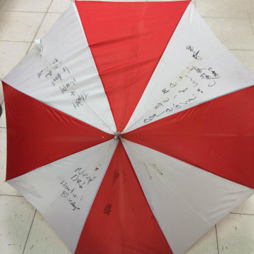 Image: Kristin Hopkins wrote messages on an umbrella and stuck it out her wrecked car window