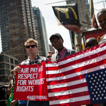 Image: Fast-Food Workers Rally And Urge International Workers To Get Involved In Higher Wage Movement