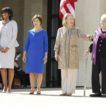 Image: U.S. First Lady Obama poses with former first ladies as they attend the dedication ceremony for the George W. Bush Presidential Center in Dallas