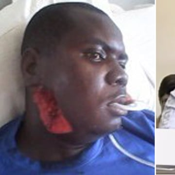 Image: Habila Adamu in hospital after he was attacked by Boko Haram militants in 2012, left, and giving evidence in Washington, D.C., on Nov. 13, 2013.