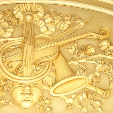 Image: A detail above the music room door of Bellosguardo