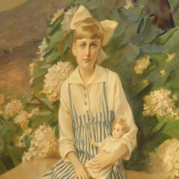 Image: A painting of Huguette Clark inside Bellosguardo, the Huguette Clark estate.