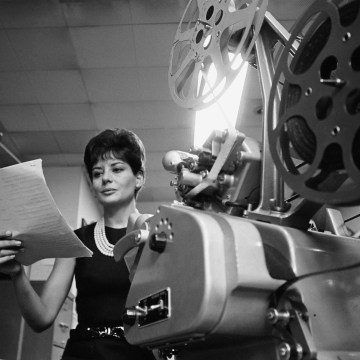 Barbara Walters in an NBC News edit room in 1965