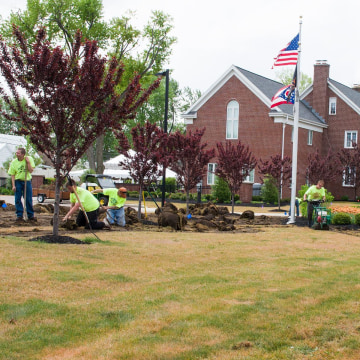 Workers correct an unfortunate lawn care accident that affected most of University of Findlay's campus as well as the lawn of the home of the university president.