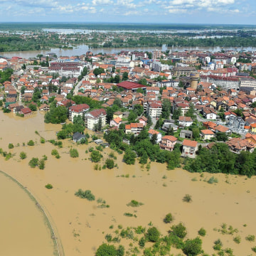 Image: An aerial view shows a flooded area near the Northern-Bosnian town of Brcko