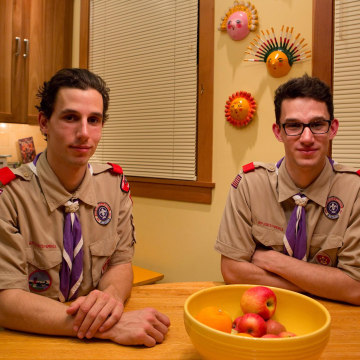 Image: Eagle Scouts and twin brothers August and Liam Easton-Calabria