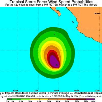 Image: Hurricane Amanda wind force probabilities