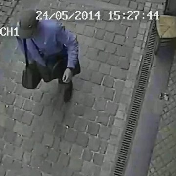 Image: A surveillance camera shows the suspected killer walking near the Jewish museum in Brussels