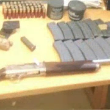 Image: A cache of weapons and ammo was found in  duffel bag carried by a man on the NYC subway