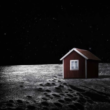 Image: Illustration of a red house on the moon