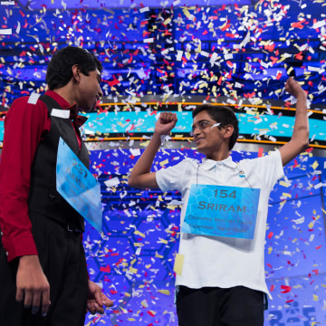 Image: Ansun Sujoe, 13, of Fort Worth, Texas, left, and Sriram Hathwar, 14, of Painted Post, N.Y., celebrate after being named co-champions of the National Spelling Bee