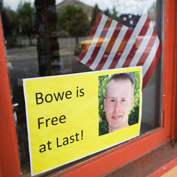 Image: A sign of support of Army Sergeant Bowe Bergdahl is seen in Hailey, Idaho