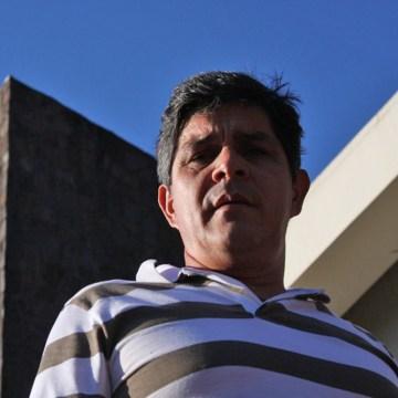 Javier Miranda in front of Ciudad del Este's main cathedral.