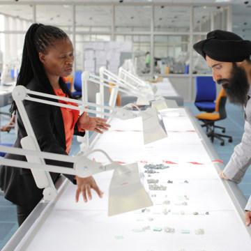 Image: Waris Ahluwalia touring diamond factory in Botswana
