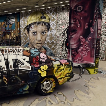Image: A view of the street art and graffiti exhibition at the private Onassis Foundation