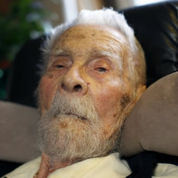 Image: 111 year-old Dr. Alexander Imich, the world's oldest living man, poses for a photograph on May 9, 2014.