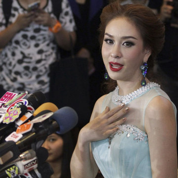 Image: Miss Universe Thailand Weluree Ditsayabut, 22, speaks during a news conference at Renaissance Hotel in Bangkok