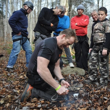 Image: students at Bear Grylls Survival Academy