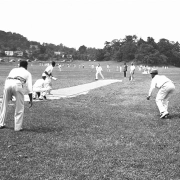Image: Trinidad and St. Lucia cricket teams face off in New York's Van Cortlandt Park, on June 30, 1948