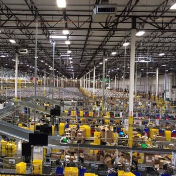 A file photo of an Amazon warehouse.
