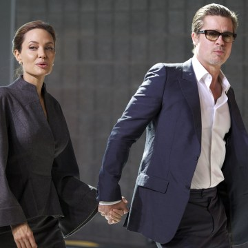 Image: Angelina Jolie and Brad Pitt in London