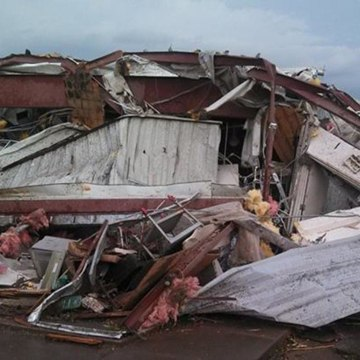 A building destroyed by a tornado in Pilger, Neb.