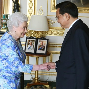 Image: Queen Elizabeth II receives Chinese premier Li Keqiang at Windsor Castle, during their visit to the UK on June 17 in Windsor, England.